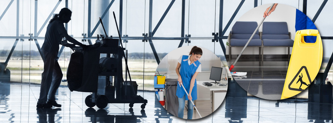 Cleaning staff in an airport hall
